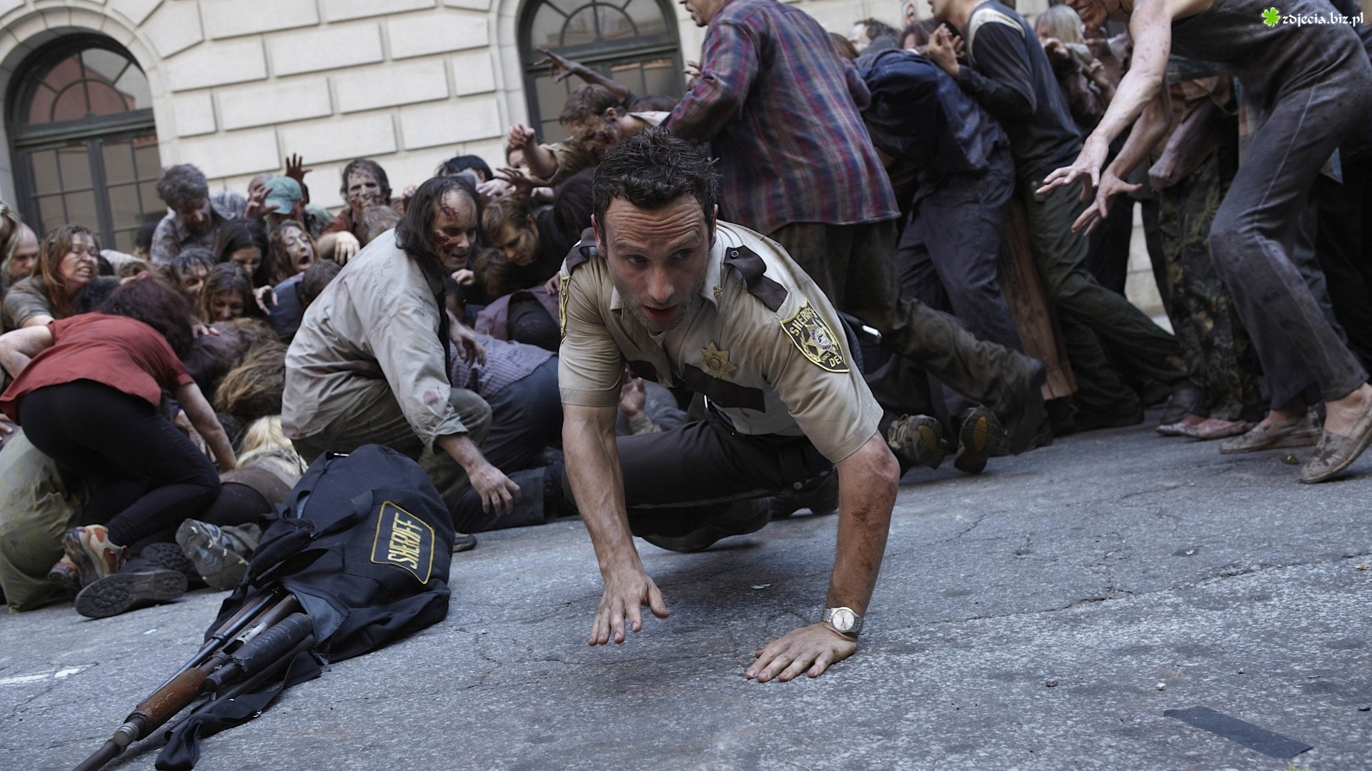 Serial, The Walking Dead, Żywe trupy, Rick Grimes, Andrew Lincoln, Zombie Andrew Lincoln