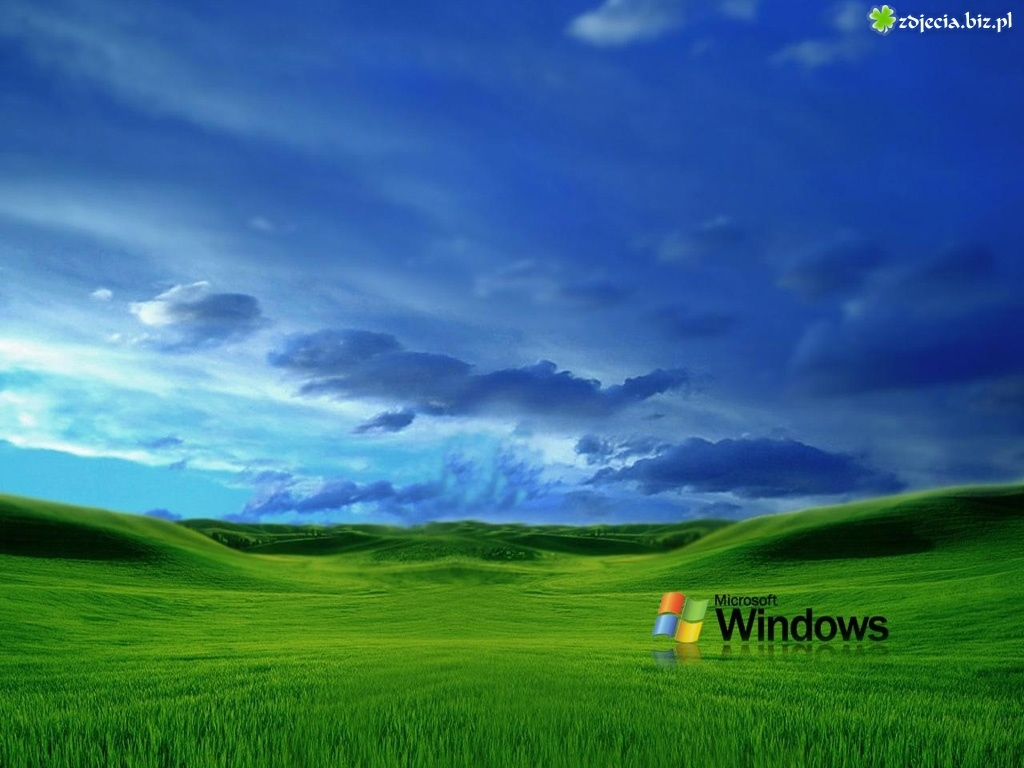 Windows XP, łąki, Chmury