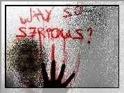 Joker, szyba, napis, Batman Dark Knight
