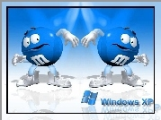 Windows, XP, Dwie, Niebieskie, M&M