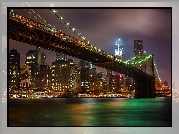 Brooklyn, Bridge, Nocna, Panorama, Miasta