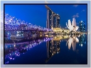 Singapur, Most, Noc, Marina Bay Sands