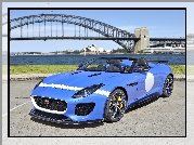 Niebieski, Jaguar, F-type, Project 7, Most, Sydney, Rozmyte, Tło