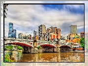 Australia, Melbourne, Most Princes Bridge, Rzeka, Wieżowce